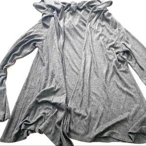 Eileen Fisher grey hooded open cardigan knit M